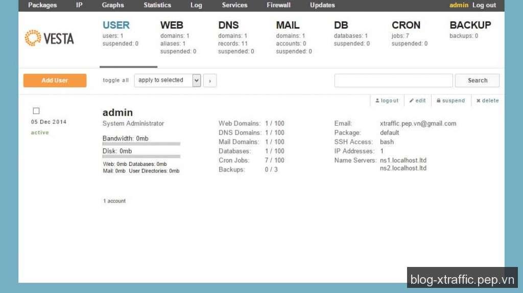 Hướng dẫn cài đặt Vesta Control Panel cho VPS/Server - Control Panel Vesta - Webmasters Tools
