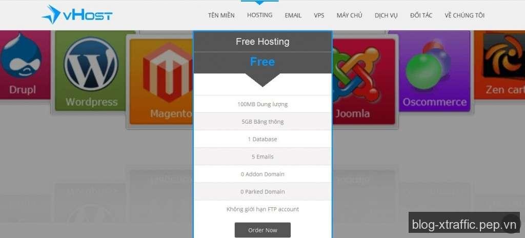 Đánh giá (Review) chất lượng Free Web Hosting của vHost - free web hosting vHost web hosting miễn phí - Hosting