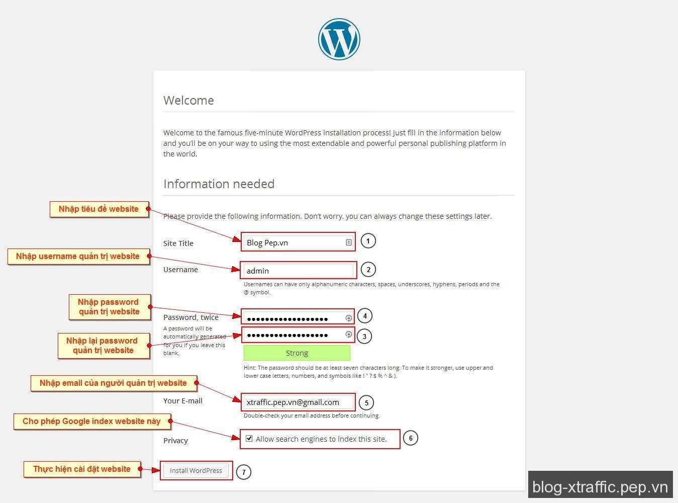 WordPress Cơ Bản : Cách tạo và cài đặt website WordPress - cách tạo và cài đặt How to install WordPress - Wordpress